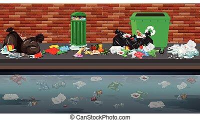 strada, rifiuti, scena