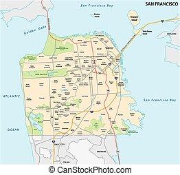 strada, san, vicinato, francisco, mappa