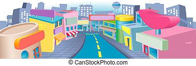 strada, shopping, illustrazione