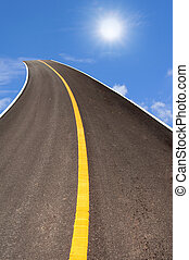 strada, sopra, cielo blu