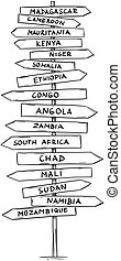 strada, vecchio, paesi, direzionale, africa, segno, nomi, freccia, centrale, disegno, sud