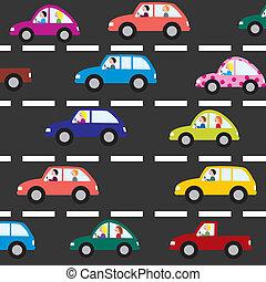 strada, vettore, automobili