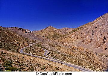 strada winding, in, il, alto-altezza, montagna, regione, di, ladakh, in, il, himalaya
