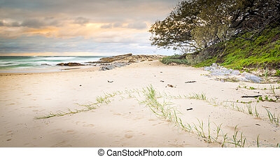Stradbroke Island beach sunrise on Deadmans Beach in Queensland, Australia
