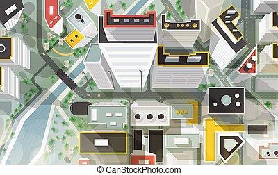 strade, bello, aereo, grattacieli, moderno, cima, plan., style., architettura, città, paesaggio, occhio, uccello, urbano, costruzioni, colorito, illustrazione, cartone animato, s, vettore, fiume, bridge., o, vista