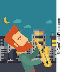 strade, gioco, sassofonista, notte