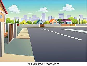 strade, grafica, villaggi, daytime.