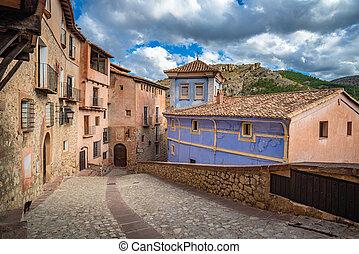 strade, in?aragon, pittoresco, albarracin, villaggio, medievale