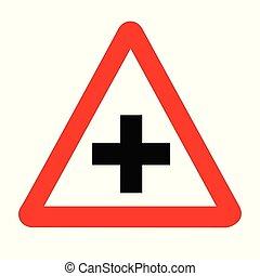 strade, segno, traffico, isolato, croce