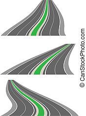 strade, vettore, prospettiva