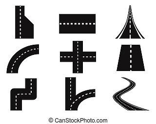 strade, vettore, set