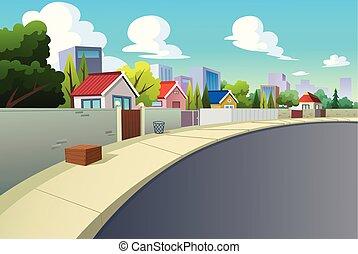 strade, villaggi, daytime., grafica