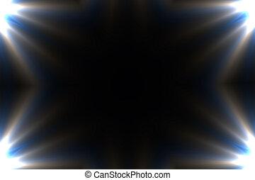 strahlen, glanz, sonne, -, flare., linse, hintergrund., design, schablone, stern, ecke