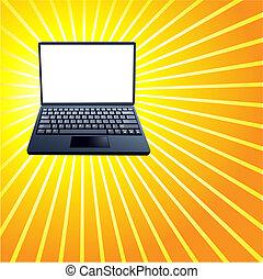 strahlen, laptop, gelber , hell, edv, hintergrund, glänzend