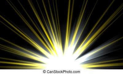 strahlen, stern, flare., gelber , linse, schwarzer hintergrund, sonne- licht