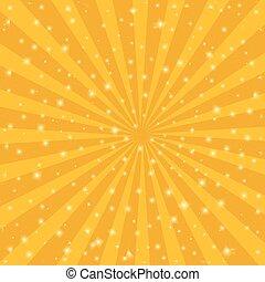 strahlen, stern, illustration., bersten, sonne, hintergrund., vektor, weinlese, orange