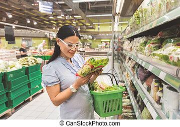 strahlend, dame, sichtung, bestandteile, in, supermärkte