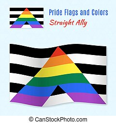 Straight Allies pride flag with correct color scheme, both...