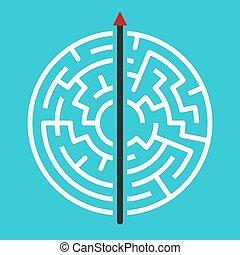 Straight arrow through maze