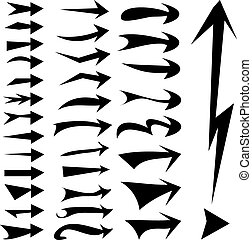 straight arrows icon set, various style, edge, curve, sharp and