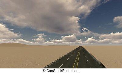 Straight asphalt road in the desert