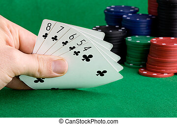 Straight Flush  - A poker hand with a straight flush