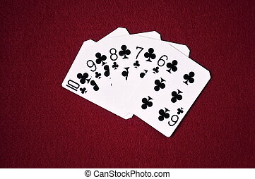 Straight Flush on Red Background