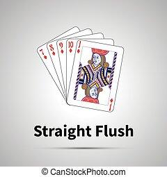 Straight Flush poker combination on gray