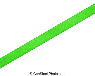 straight green ribbon, isolated on white background