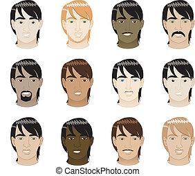 Straight Hair Men Faces - Vector Illustration of 12...