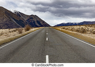 straight highway in arthur's pass national park one of most popular traveling destination in new zealand