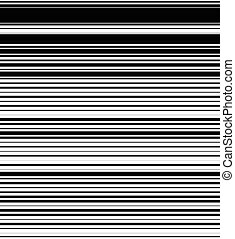Straight, horizontal lines pattern with random thickness. Black and white background. (Seamlessly repeatable horizontally.)