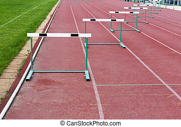 straight lanes of running track - straight lanes of red...