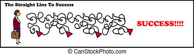 Straight Line Success - Business cartoon about the...