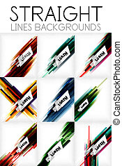 Straight lines abstract vector background set
