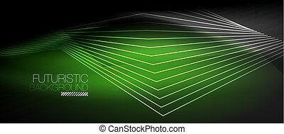 Straight neon lines in dark space, vector techno abstract...