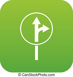 Straight or right turn ahead road sign icon digital green