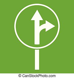 Straight or right turn ahead road sign icon green