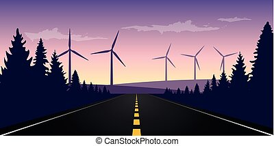 straight paved road to the horizon with windmill park