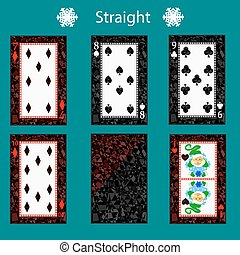 straight playing card poker combination. vector illustration eps 10. On a green background. To use for design, registration, the websites, dressing, the press, etc.