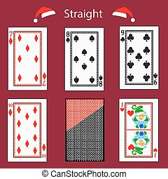 straight playing card poker combination. vector illustration eps 10. On a red background. To use for design, registration, the websites, dressing, the press, etc.