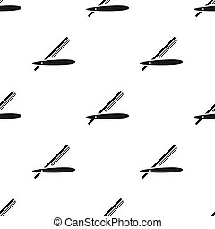 Straight razor icon in black style isolated on white background. Hairdressery pattern stock vector illustration.