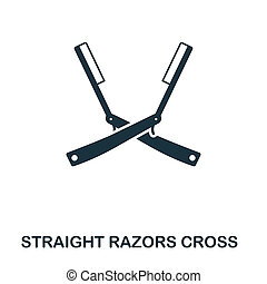 Straight Razors Cross icon. Flat style icon design. UI. Illustration of straight razors cross icon. Pictogram isolated on white. Ready to use in web design, apps, software, print.