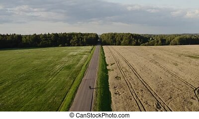 Straight road in agriculture side. Man rides a motorcycle on...