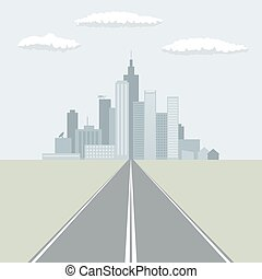 Straight road leading to the big city flat design vector illustration.