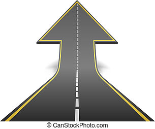 Straight road turning into ascending arrow concept vector illustration.
