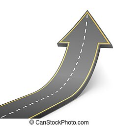 Straight road turning into ascending arrow