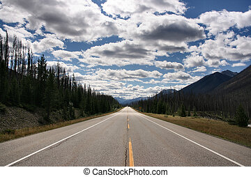 Canada - Straight scenic road in Kootenay National Park,...