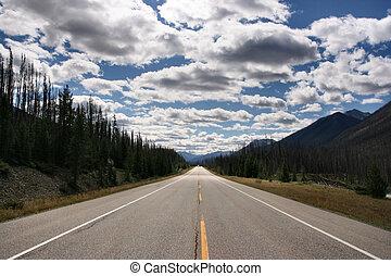 Canada - Straight scenic road in Kootenay National Park, ...
