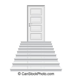 Straight stairway leading to closed door vector illustration.